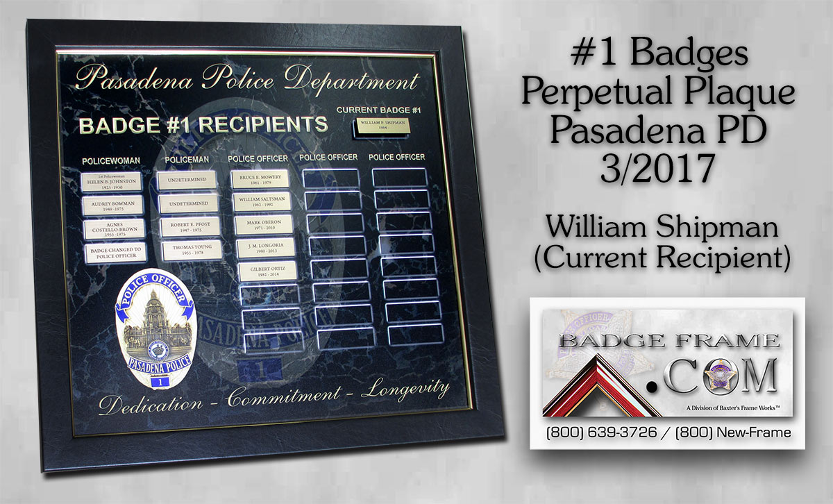 Pasadena           Perpetual Plaaque for Badge #1 from Badge Frame