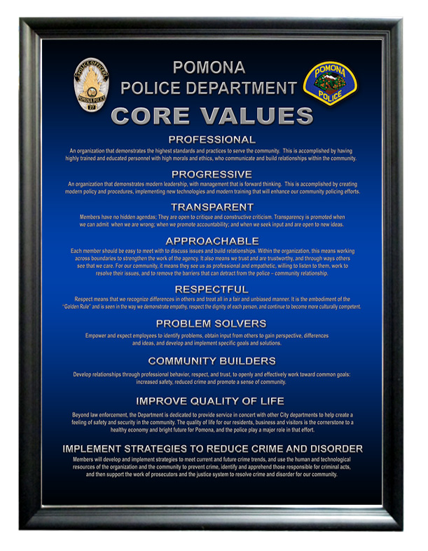 Pomona Police Department m- Core Values from Badge Frame
