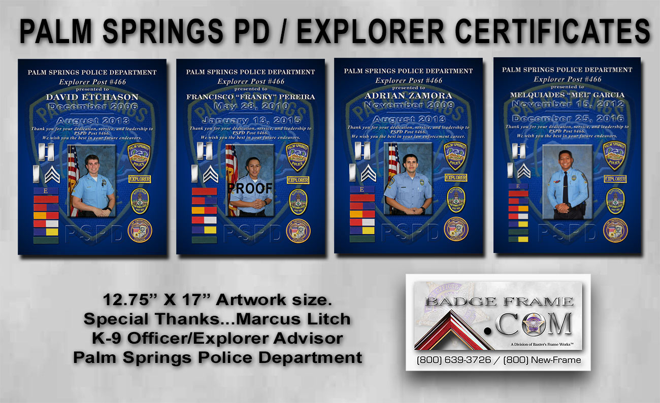 PSPD Explorers Certificates from Bdge Frame