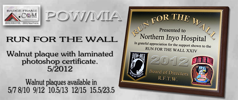 Run For The Wall -                   Recognition Plaque