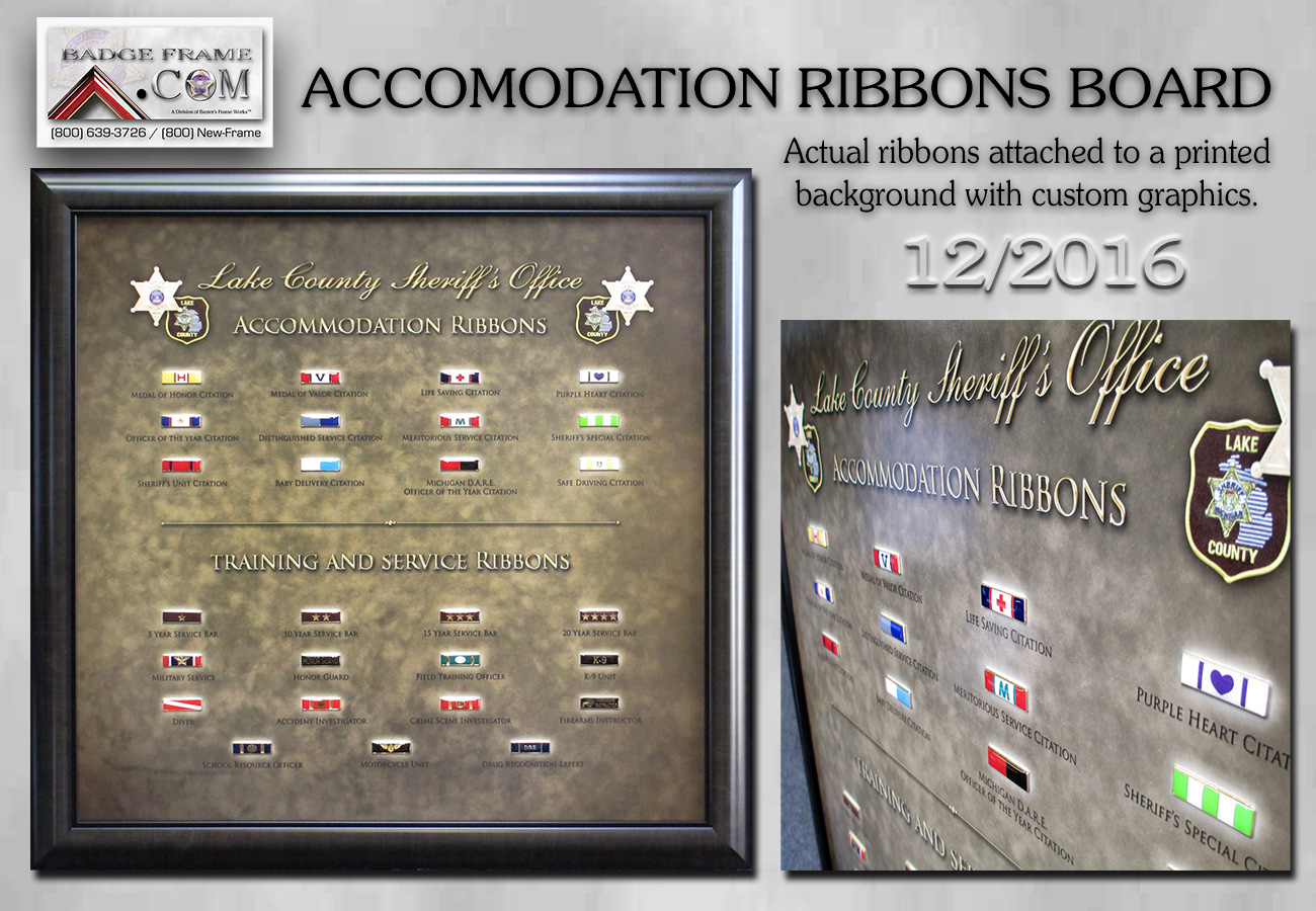 Lake           County Sheriff - Accomondation Ribbon Board from Badge Frame
