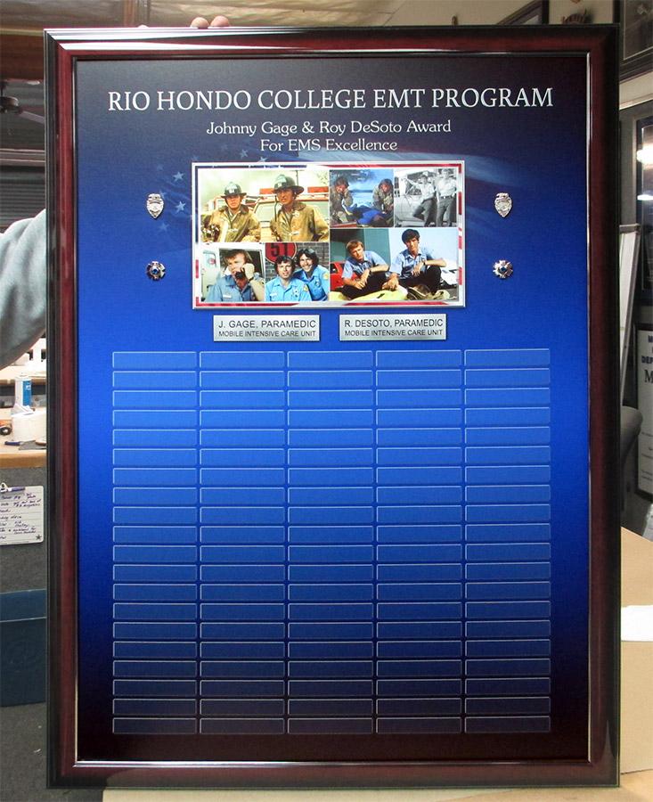 Rio           Hondo EMT perpetual Plaque from Badge Frame