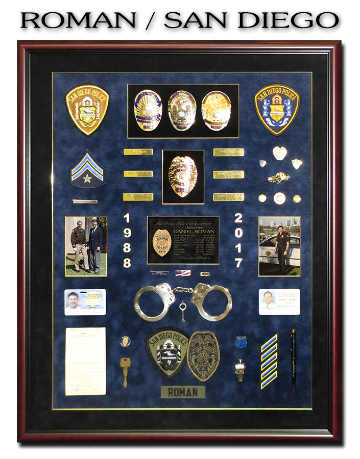 Roman -             San Diego PD - Police Retirment Presentation from Badge             Frame