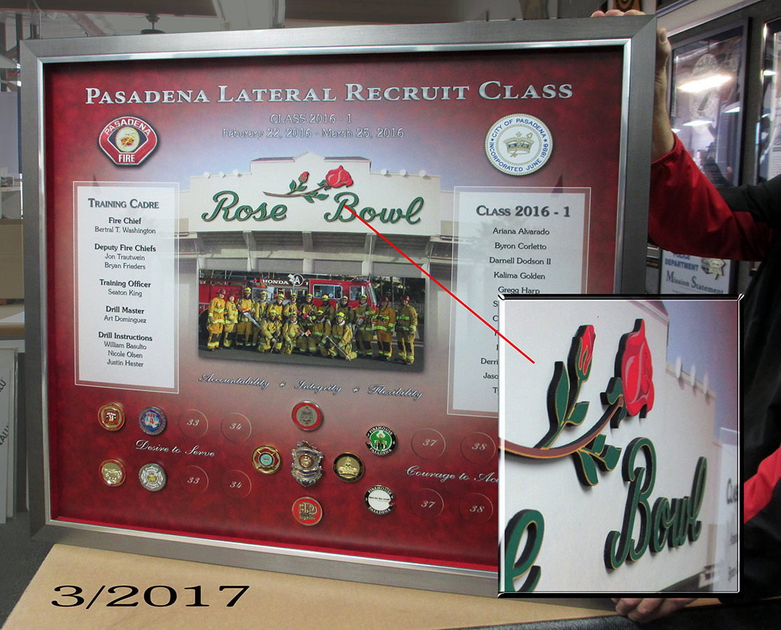 Rose Bowl           presentation from Badge Frame - Printed Background with actual           items