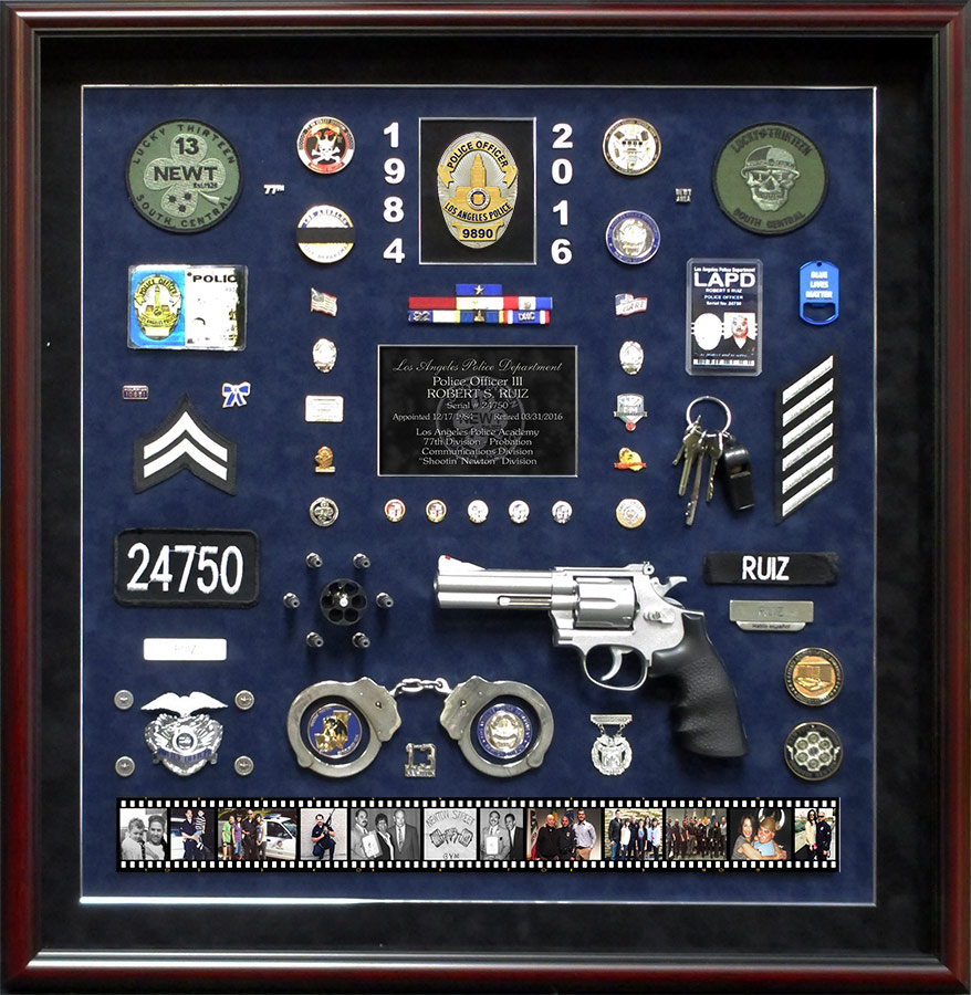 Ruiz - LAPD Retirement Career           Shadowbox from Badge Frame