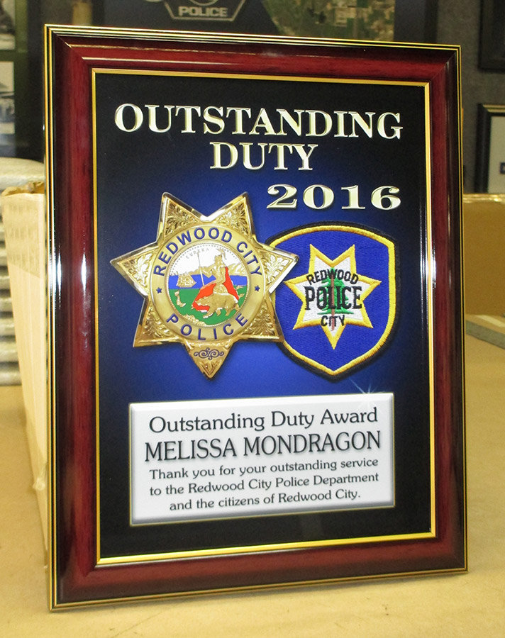 Redwood City PD - Recognition Plaque from Badge Frame