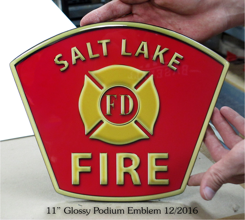 Salt Lake Fire Academy podium emblem from Badge Frame