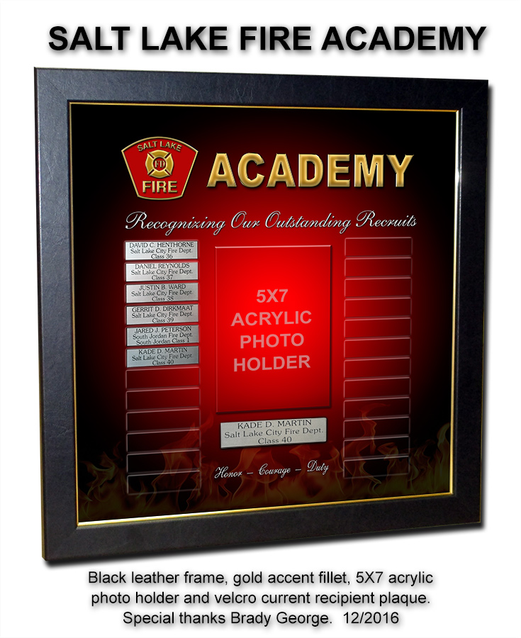 Saly Lake Fire Academy Perpetual Plaque presentation from Badge Frame