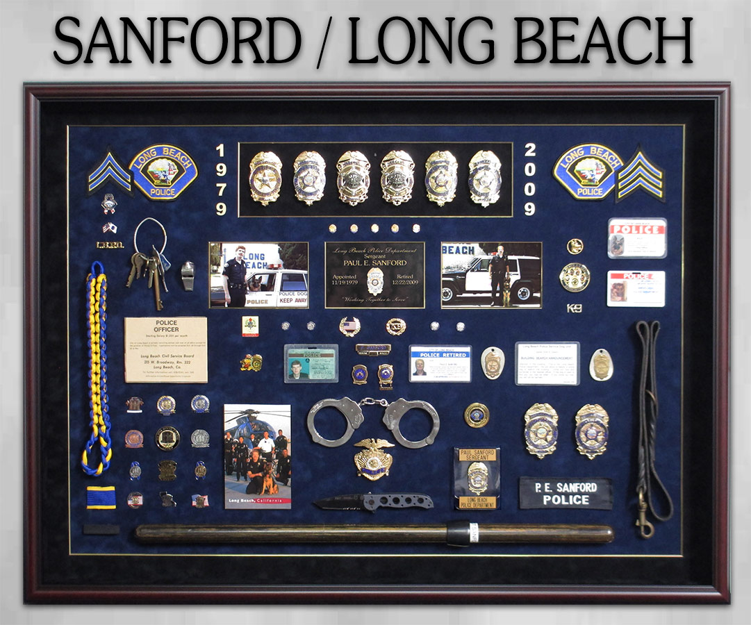 Police Shadowbox for Long Beach PD - Sanford retirement             presentation from Badge Frame