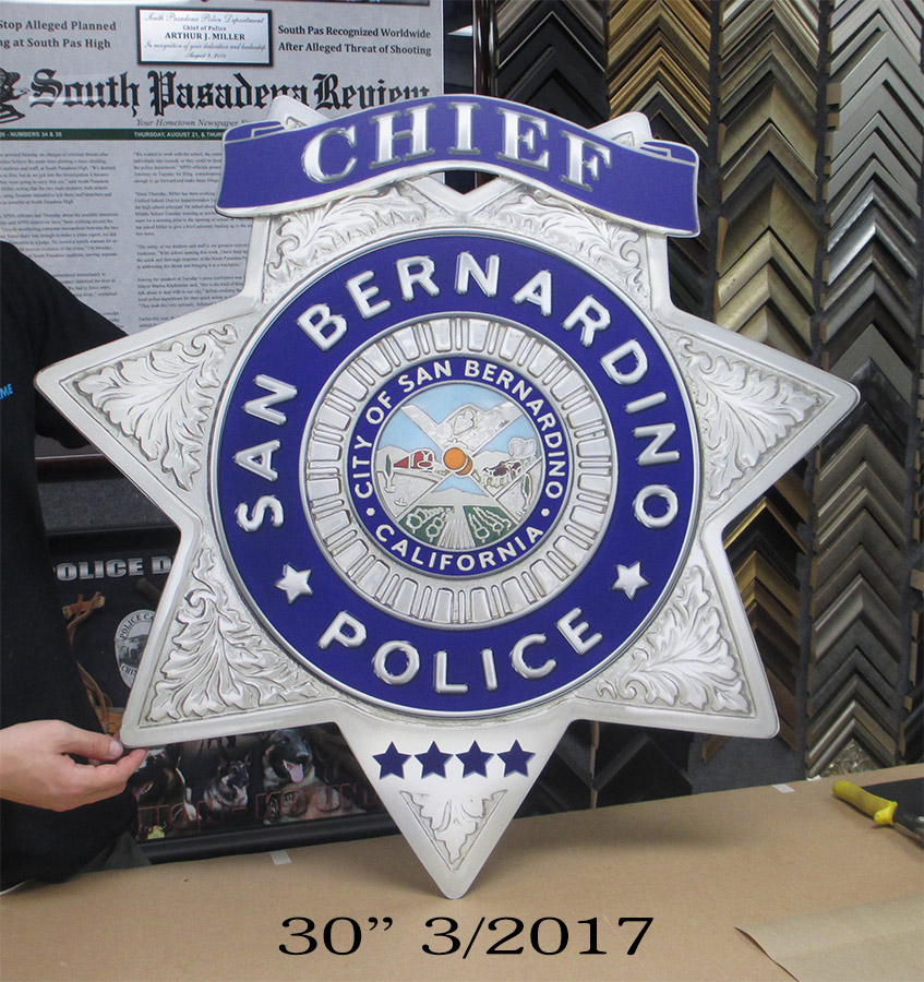 Oversize Chief Badge from Badge Frame for San Bernardino           PD