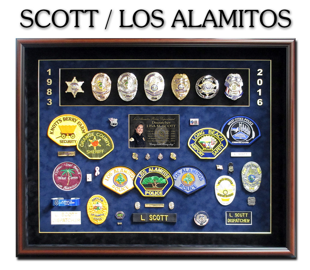 Police Dispatch Retirement Shadowbox for Scott from Los             Alamitos. Badge Frame / Chino, CA