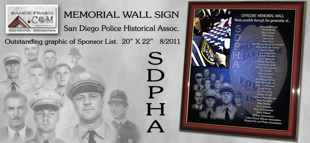 San Diego Police Historical Assoc. Memorial Wall Sponsor         sign