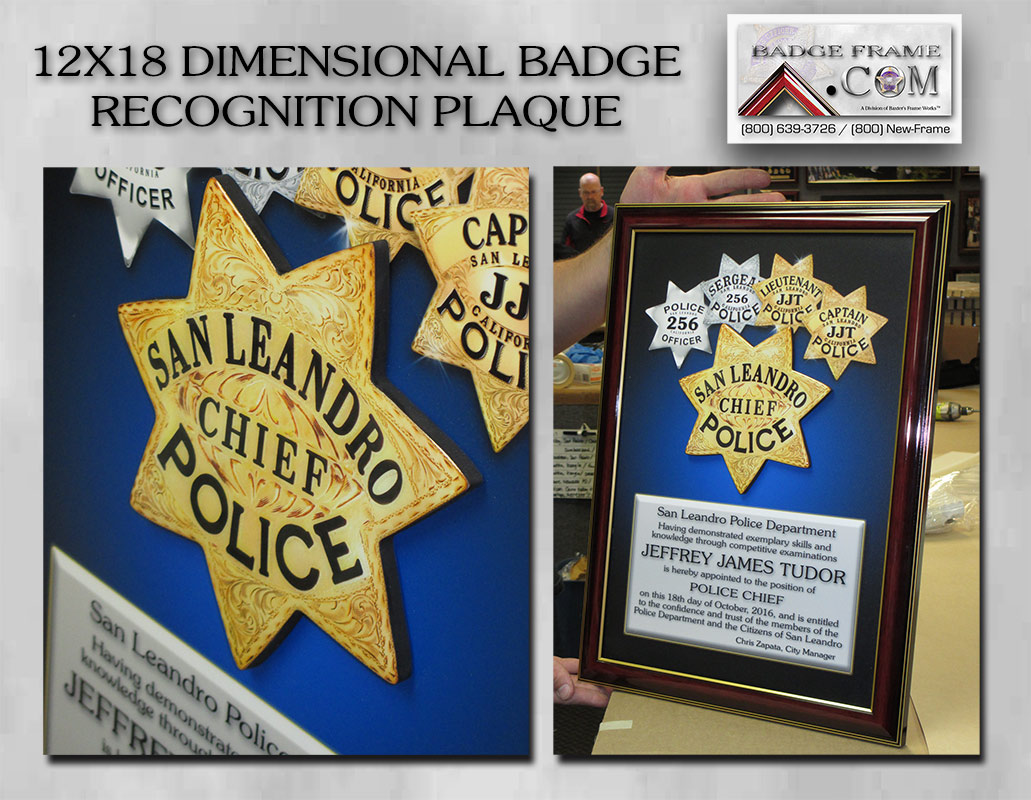 San             Leandro PD - Chief Recognition Plaque with dimensional badge             from Badge Frame