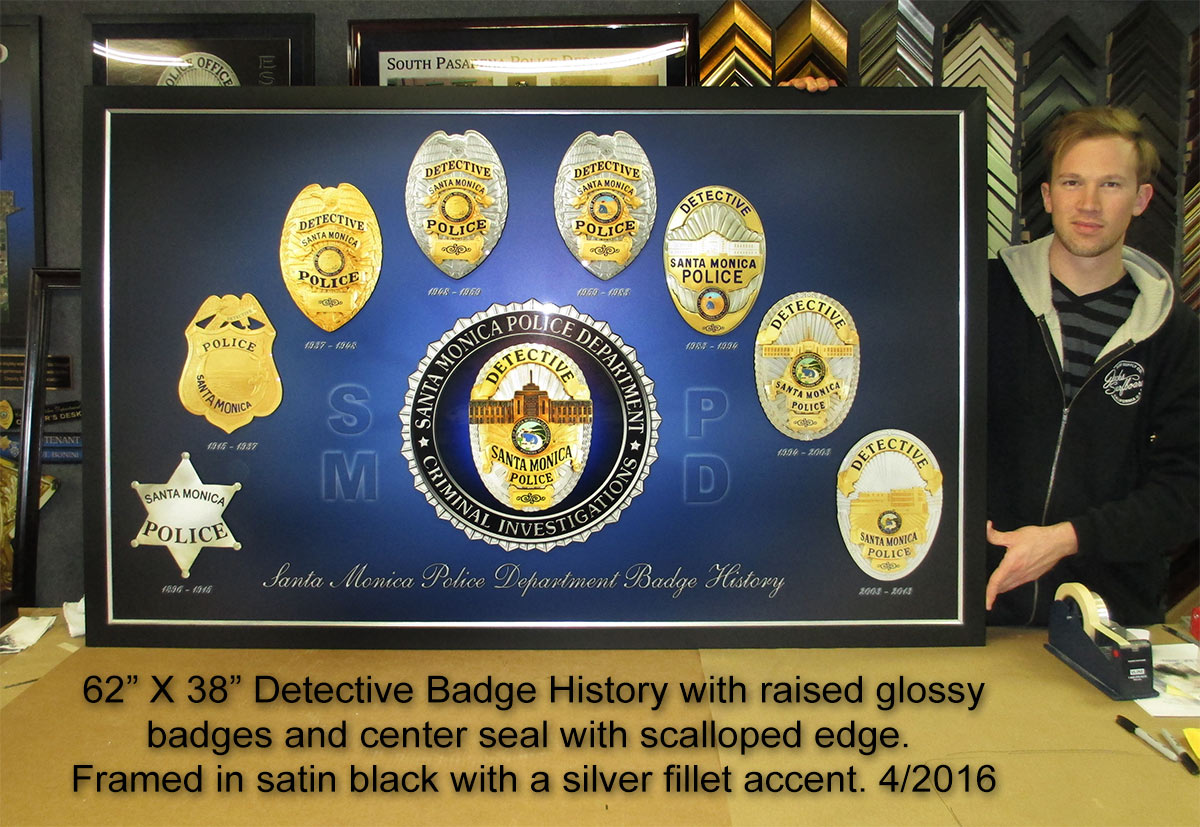 Santa Monica PD - Detective Badge History presentation           from Badge Frame