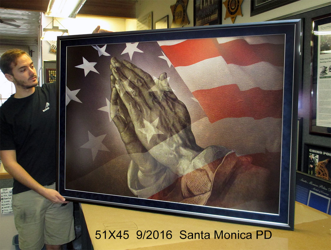 Santa Monica PD - Praying Hands and American Flag prestation from Badge Frame 9/216