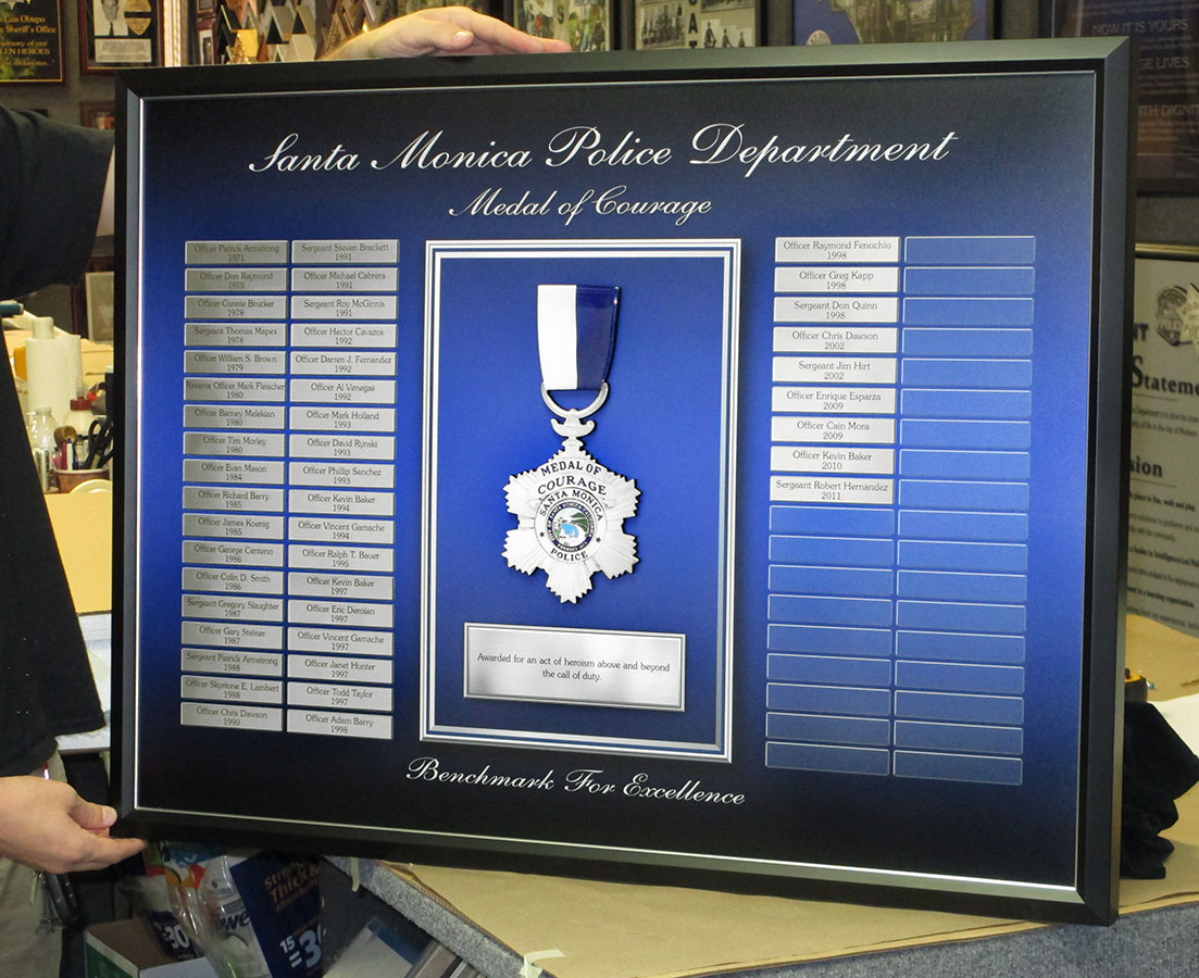 Santa Monica PD - Medal of Courage Perpetual Plaque from Badge Frame
