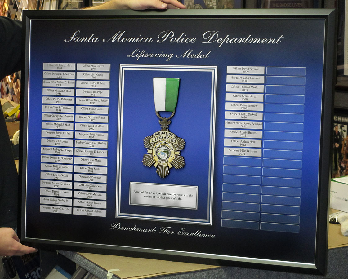 Santa Monica Lifesaving Perpetual Plaque from Badge Frame 10-2016
