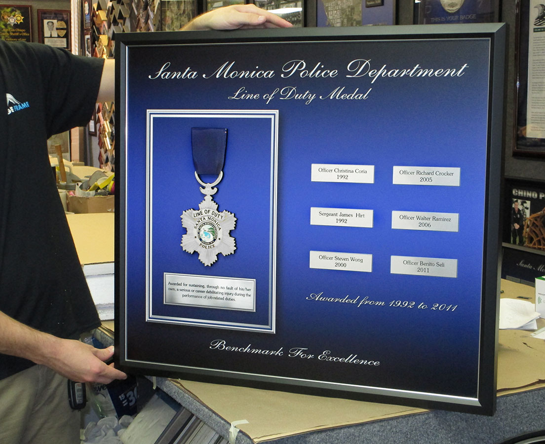 Santa Monica PD Line of Duty Medal Perpetual Plaque  from Badge Frame