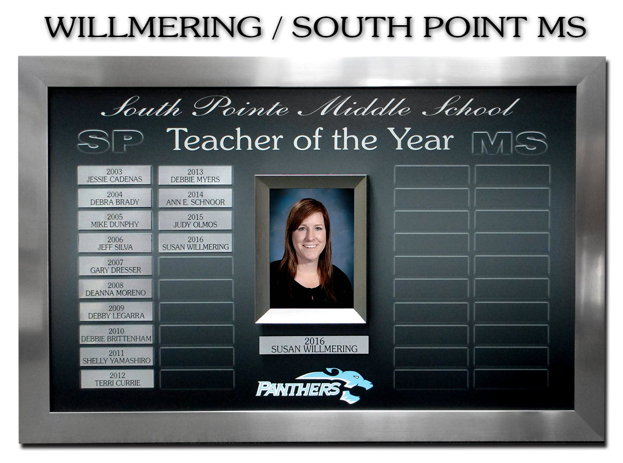 South           Pointe Middle School - Teacher of the Year Prepetual Plaque           from Badge Frame 1/2017