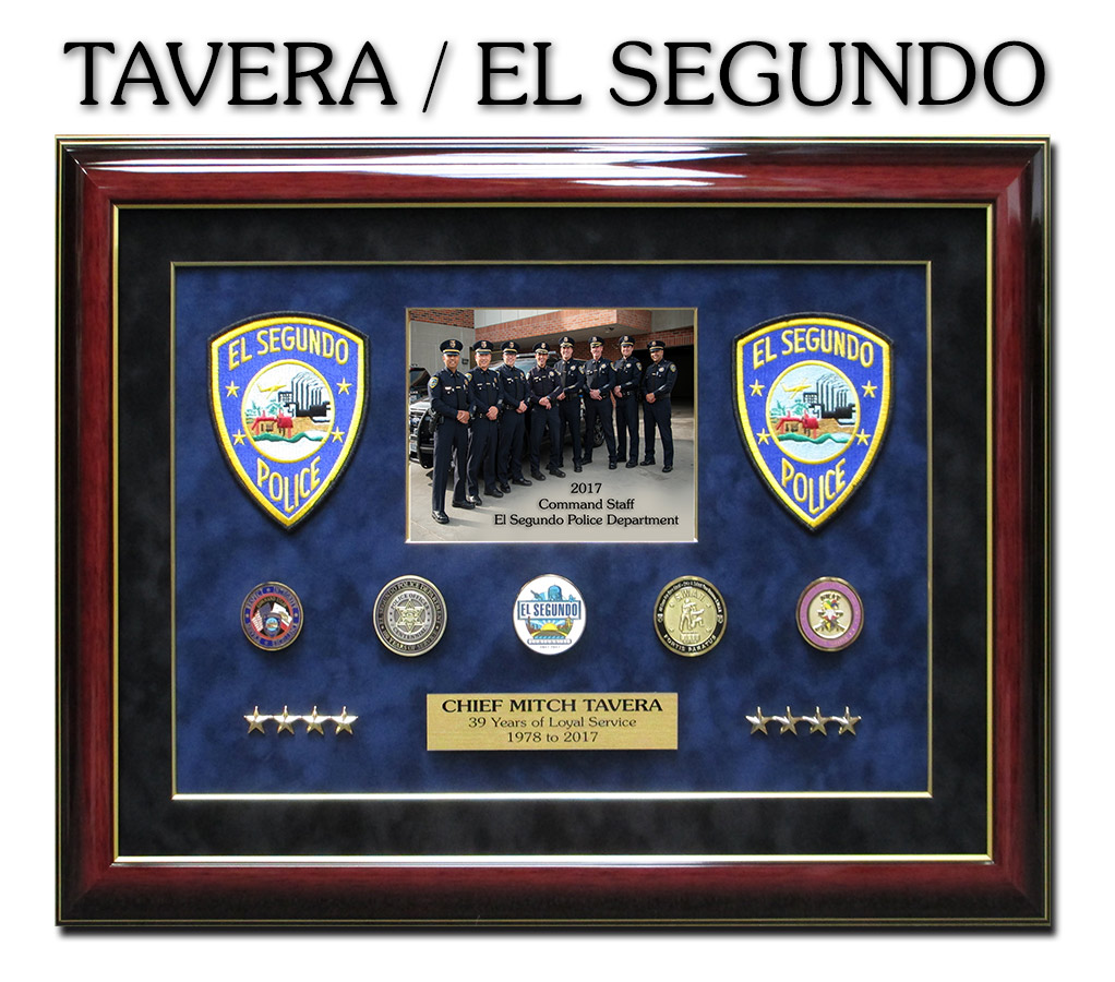 Chief Tavera - El             Segundo PD Retirement Shadowbox from Badge Frame