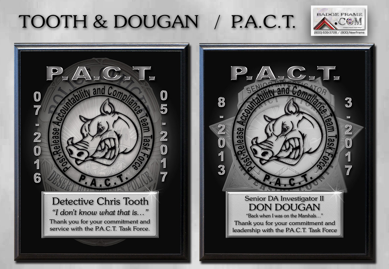 Tooth           & Dougan - P.A.C.T. Recognition Plaques from Badge Frame