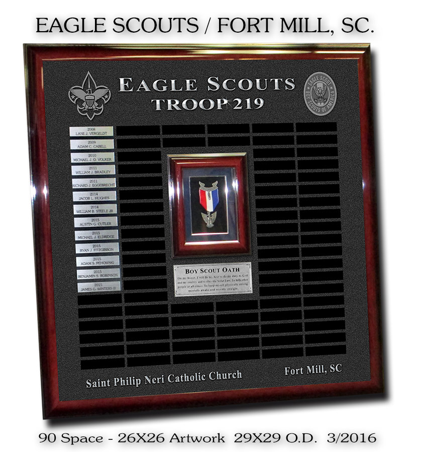 Eagle Scouts - Troop 219 - Prepetual Plaque from Badge Frame