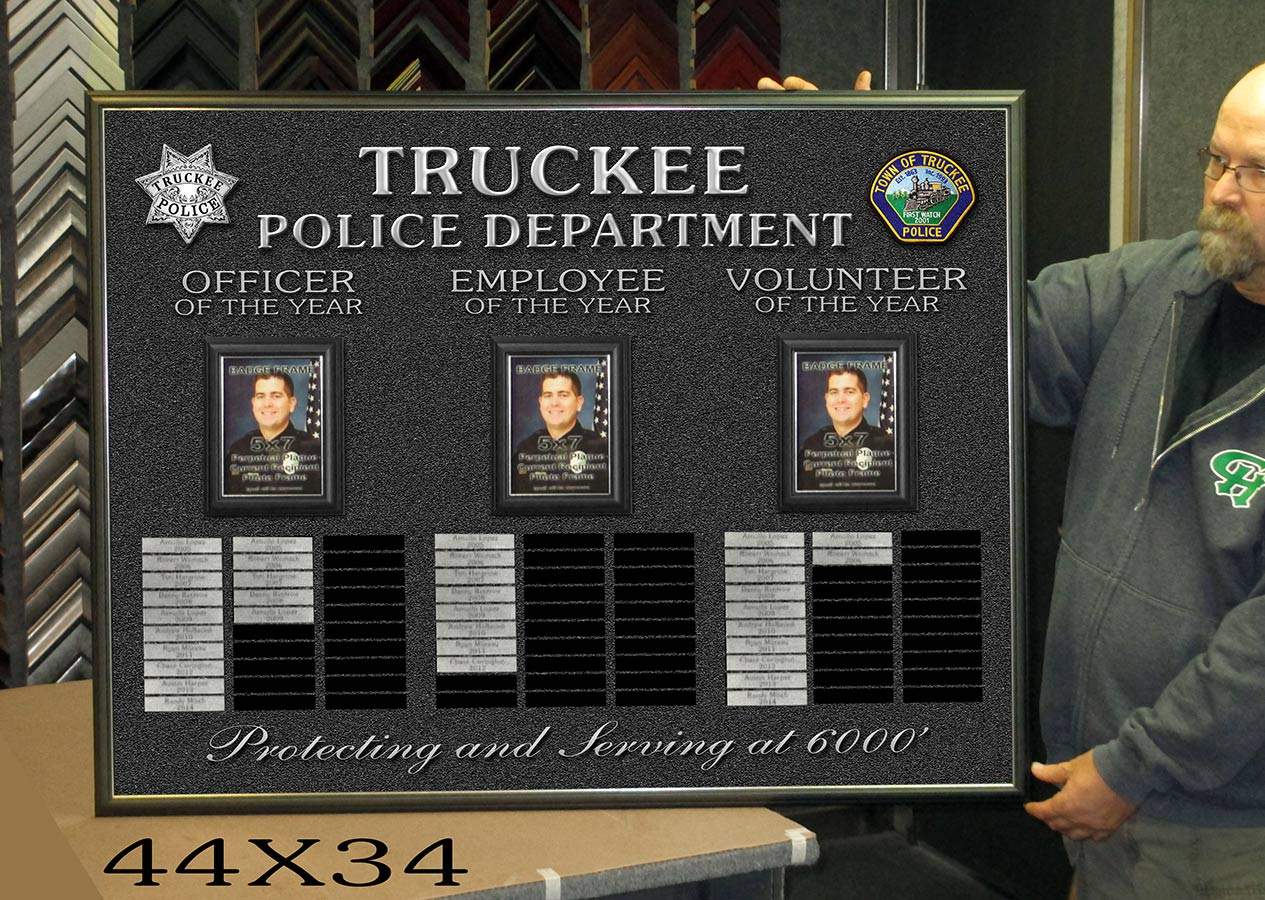 Perpetual           Plaque from Badge Frame from Truckee PD - Officer of the           Year.