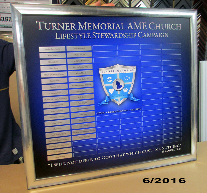 Turner Memorial AME Church Perpetual Plaque from Badge           Frame