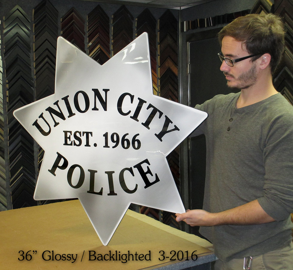 "Union City PD - 36""           Badge with backlight - 3/2016 from Badge Frame"