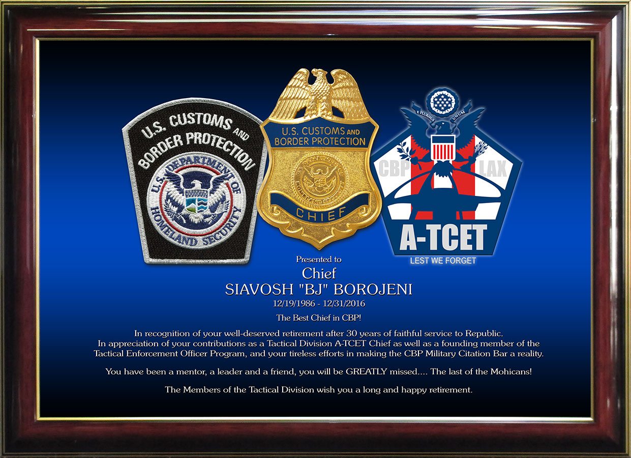 US Customs Recognition Plaque from Badge Frame