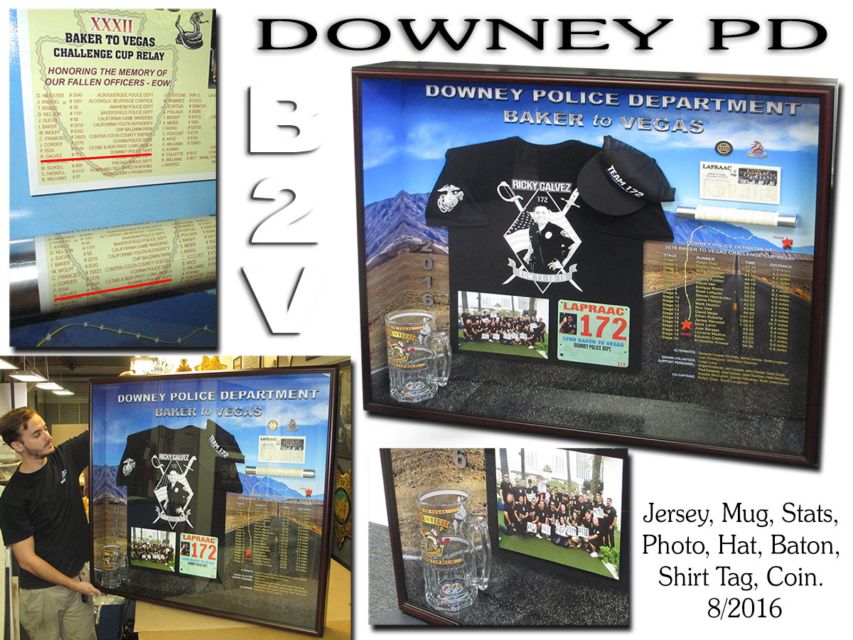Downey PD - Baker 2 Vegas Framed           Presentation from Badge Frame