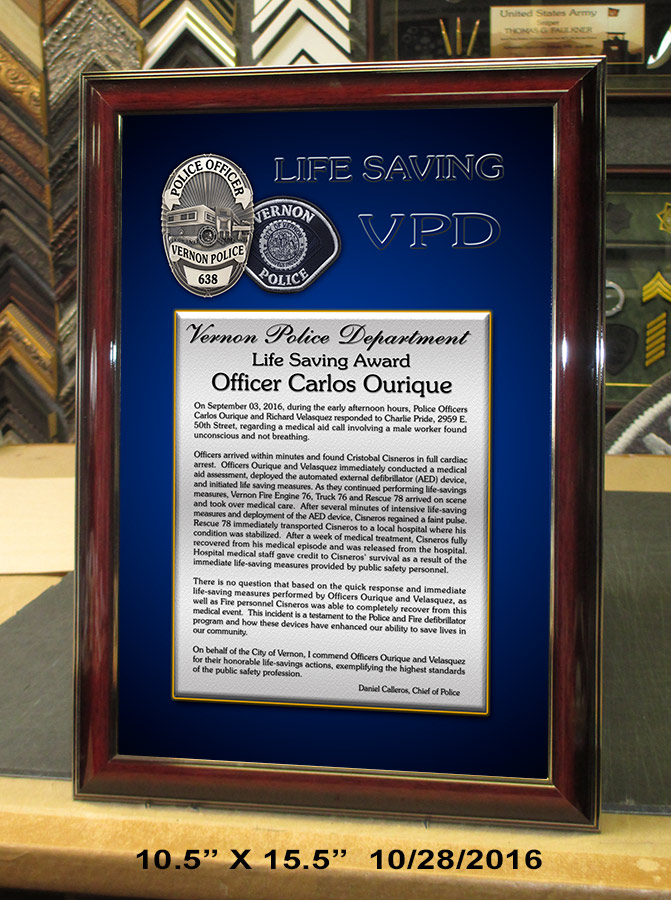 Vernon PD Lifesaving Presentation from Badge Frame
