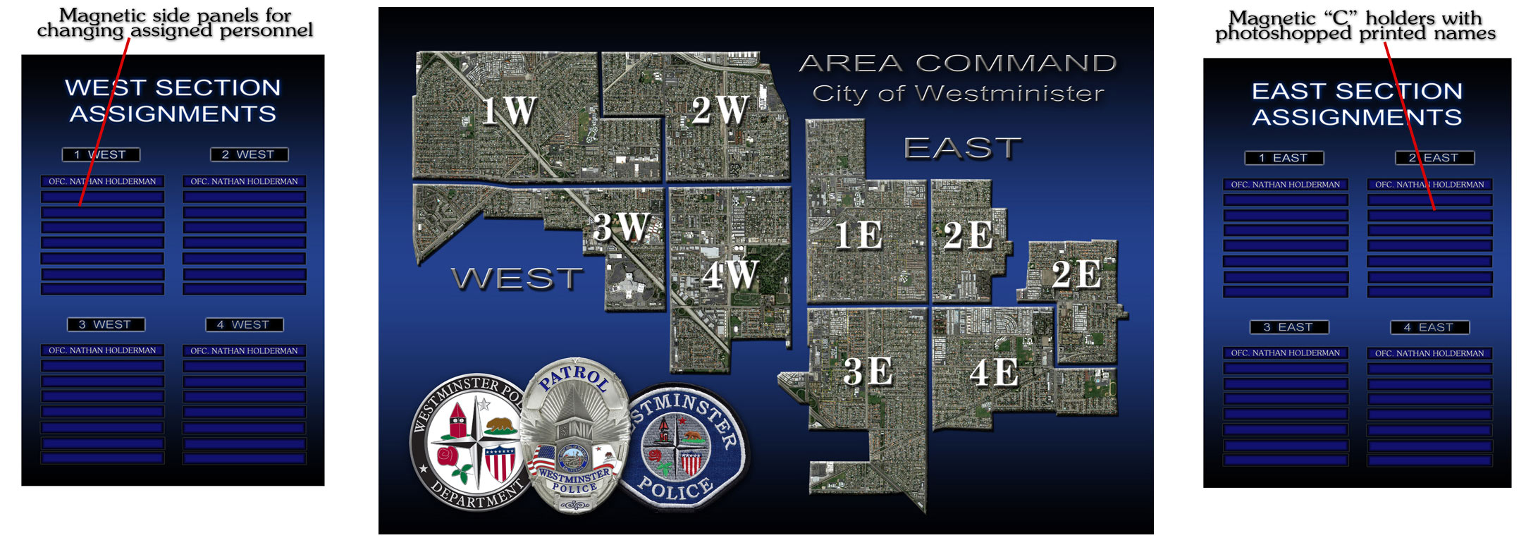 Westminister PD - Area Command Map Graphic