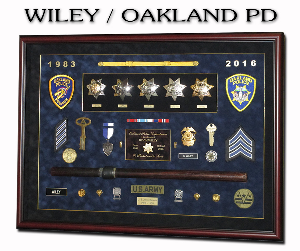 Wiley / Oakland PD Police            Shadowbox from Badge Frame