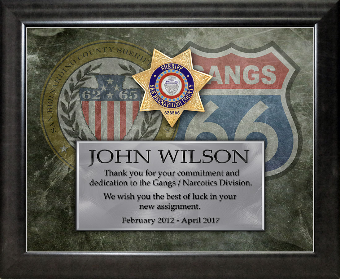 San Bernardino County Sheriff Recognition for Wilson from Badge Frame