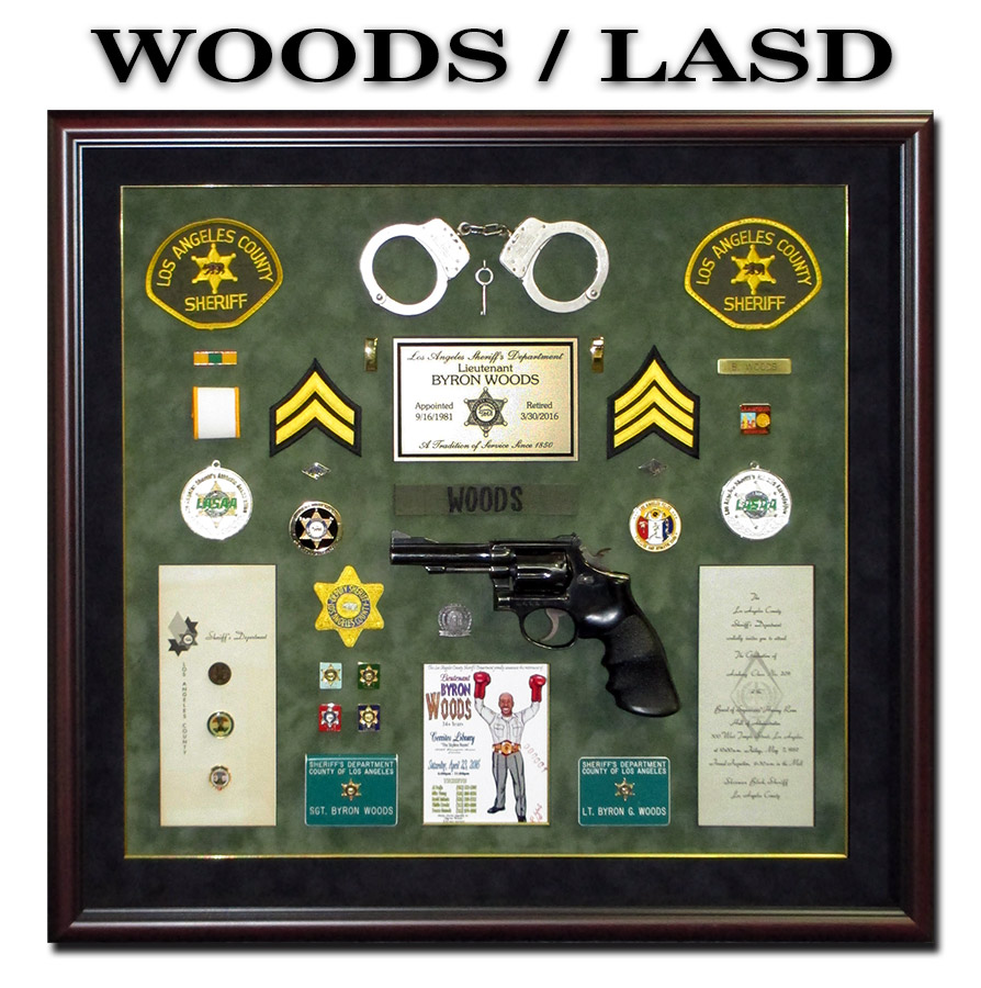 Byron Woods / LASD Retirement Shadowbox from Badge Frame 4/2016